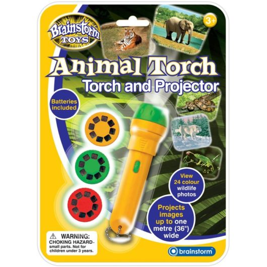 Children's animal torch with 3 photo slides and 24 full colour images