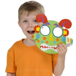 Child holding completed alien mask made with the Alex Ready, Set, Cut! Craft Kit