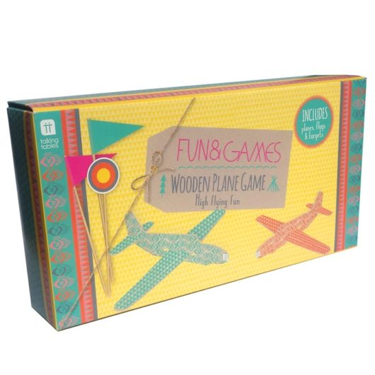 Children's balsa wood planes with targets outdoor game