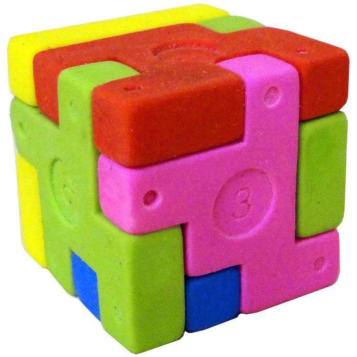 Eraser cube fidget toy with 6 coloured rubber parts to pull apart and piece back together
