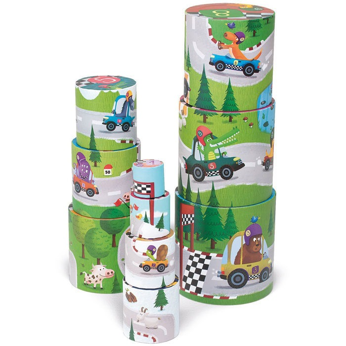 Babies numbered vehicle themed stacking cups to encourage number recognition