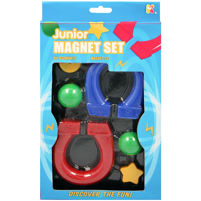 Junior magnet set with 2 horse shoe magnets and magnetic objects
