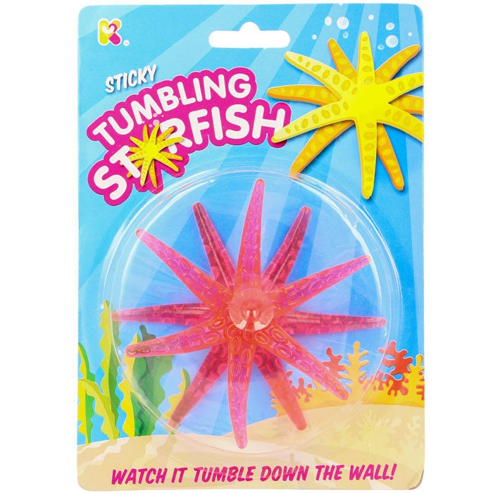 Tumbling neon starfish toy for party bags