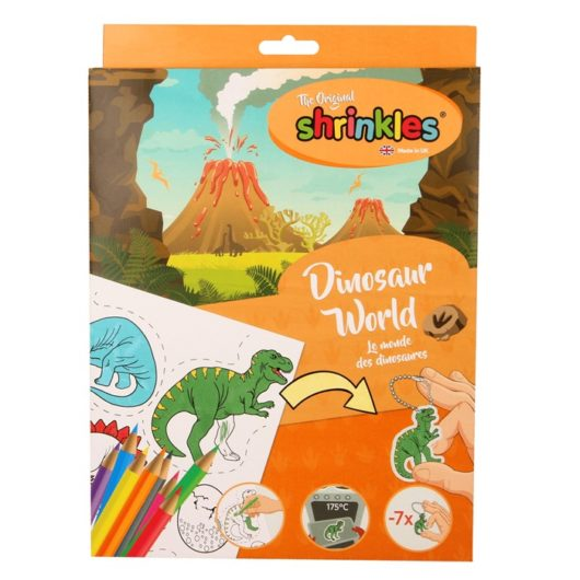 Shrinkles dinosaur activity kit to colour and shrink in the oven