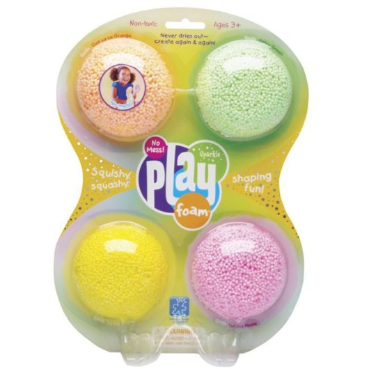Children's mess free glittery modelling foam bead play pack with 4 colours