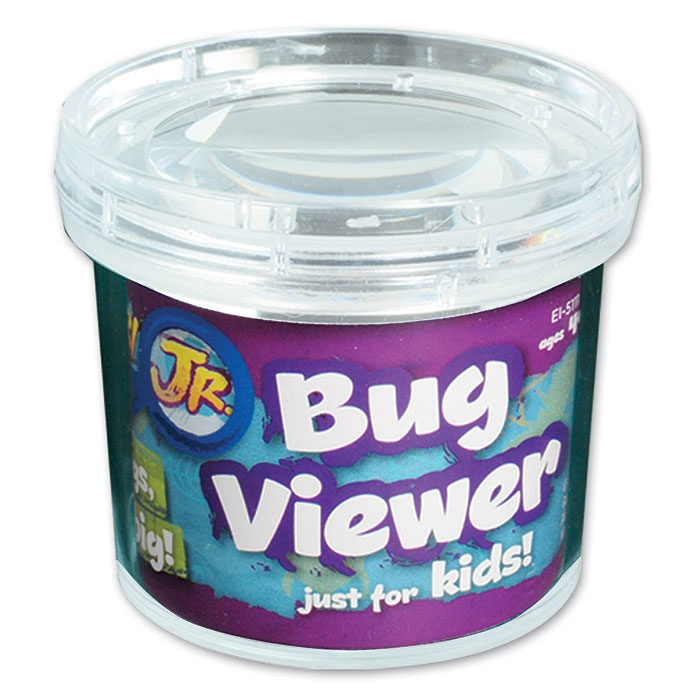 Children's hand held bug viewing jar with magnifier and measuring grid
