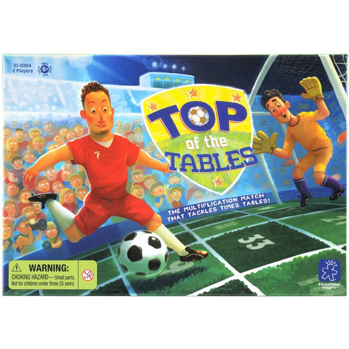 Football themed times table maths game for children featuring 2-14 times tables