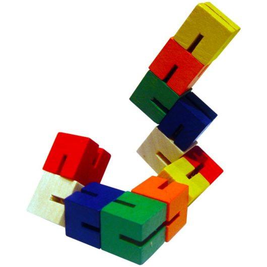String of 12 mini wooden blocks fidget toy for children