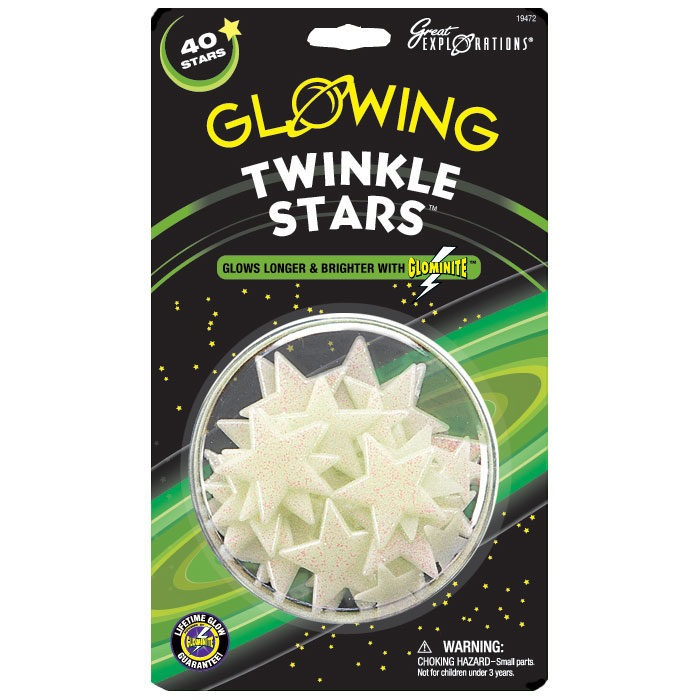 Pack of 40 plastic glow in the dark stars with glitter surface
