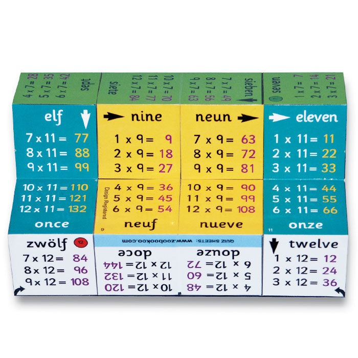 Multiplication cube book with foldable hinged pages covering times tables up to 12