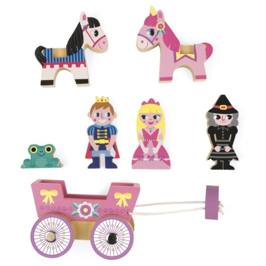 Children can make their own imaginative fantasy tale of princesses and frogs with this wooden play set by Janod