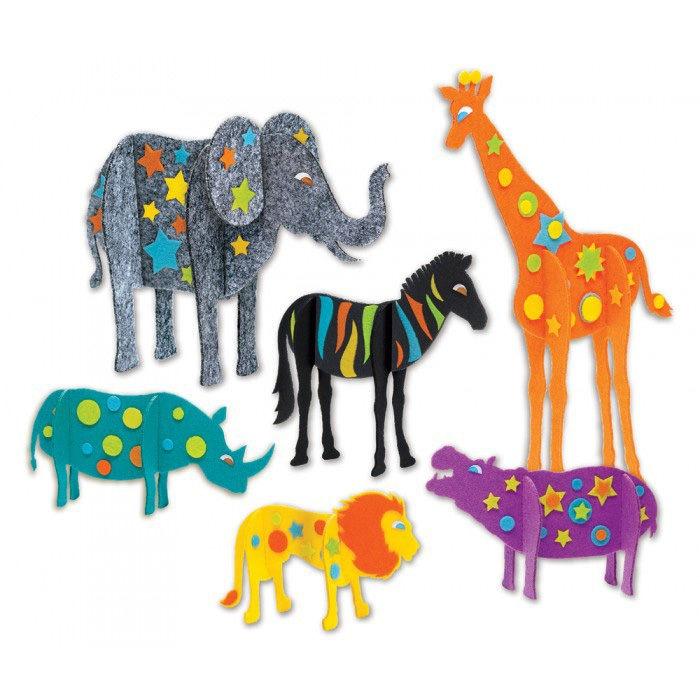 Make your own fuzzy fun felt safari animals